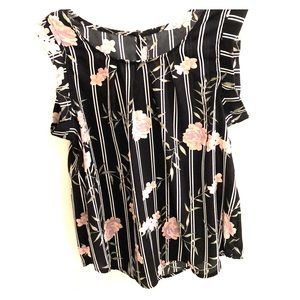 Blush sleeveless black blouse with flowers